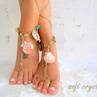 Barefoot Sandals Barefoot Beach Jewelry barefoot sandal, Hippie Sandals Foot Jewelry Toe Thong