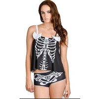 """Occult Bones"" Schwing PJ Set by Rat Baby (Black)"