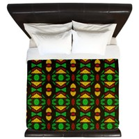 Mosaic in Red Yellow Black and Green King Duvet