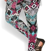 Plus Size Jade and Magenta Tribal Print Legging
