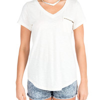 Zipper Pocket Oversized V-Neck Top