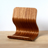 Sapele iPad Stand, Modern Tablet Stand, Recipe Holder, iPad Dock, Bent Plywood