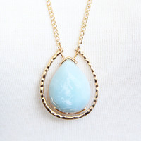 Sky Blue Pendulum Necklace Set