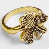 Gold Four Leaf Clover Ring | Novelty Jewelry | fredflare.com