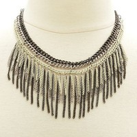 Multi Chain Fringe Collar Necklace