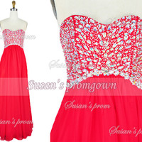 2014 Prom With Beads Red Chiffon Dresses, Prom Dress,Evening Dress,Wedding gown,homecoming dress