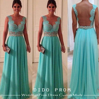 Custom Made Mint Lace Prom Dress,Open Back Prom Dress,Chiffon Prom Dress,Lace Evening Dress,Beaded Prom Dress