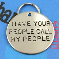 LARGE Dog Tag - Personalized Hand-Stamped Pet Tag - Custom Metal Dog Name Tag - Have Your People Call My People