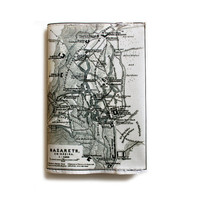 Map Passport Cover printed with the map of ancient Israel - showing Bethlechem / Bethleem and Nazareth old cities from 1912