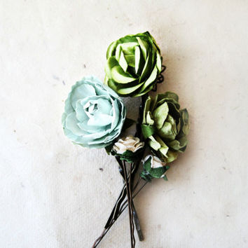 Olive and Mint Green Paper Flower Bobby Pins Set of 5. Muted Spring Green Floral Rose Hair Pins. Rustic Woodland Flower Hair Accesories.