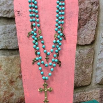 Turquoise & Burnished Gold Cross Necklace- NEK876TU