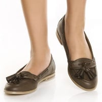 Wanted Betty Taupe Classic Tassel Flat Loafers