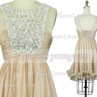 2014 Straps Prom Dress,Beads Draped Dance Dress,Evening Dress,Bridesmaid Dress,Prom Gown,Cocktail dress,Wedding Gown,Party Dress