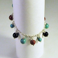 Turquoise Red Jasper and Black Onyx Dangle Bracelet | LaraJordanJewelry - Jewelry on ArtFire