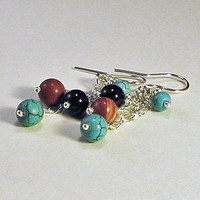 Dangle Earrings Blue Turquoise Red Jasper Black Onyx Sterling Chain | LaraJordanJewelry - Jewelry on ArtFire