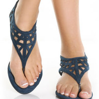 GoMax Orleans 09 Royal Blue Suede Low Rise Thong Sandals