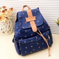 Sannysis 1PC Vogue Canvas Pastoral Floral Flower Leisure Backpack School Bag (Blue)