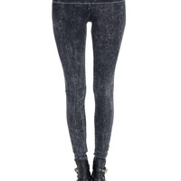 Acid Washed Fold Over Leggings