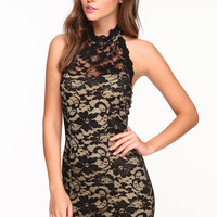 HALTER LACE DRESS