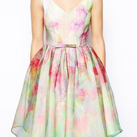 ASOS SALON Organza Floral Prom Dress