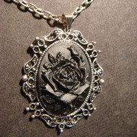Black Rose Cameo Necklace with Ornate Old World by CreepyCreationz