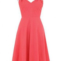 Coral Party Dress - Emily and Fin Annabelle Spot | UsTrendy
