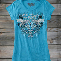 Juniors Country Girl ® Pistol Wings Rhinestones Burnout Tee