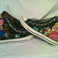 SUPER MARIO Custom Converse Hand Painted Nintendo Luigi Princess Peach Toadstool Bowser Mario Brothers Geeky Gamer Retro Shoes