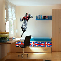 Captain Britain Decal - Hero Printed and Die-Cut Vinyl Apply in any Flat Surface- Marvel Captain Britain Decor