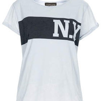 New York Burnout Tee - Pale Blue