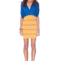 Deborah Combo Dress in Royal Blue and Mustard :: tobi