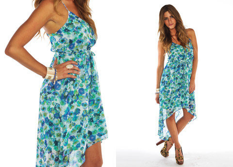 Furor Moda - Blue Floral Asymmetrical	 Dress