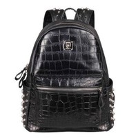 Stylish Black Alligator Crocodile Pattern Rivets Shoulder Bag Backpack