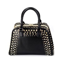 Metallic Rivets Large Black Tote Purse Handbag Carryall Bag