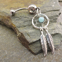 Amazonite Dream Catcher Belly Button Jewelry by MidnightsMojo