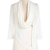 ModCloth Mid-length 3 Portside Greeting Cardigan in White