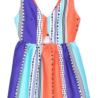 ROMWE Color-block Print Sleeveless Dress