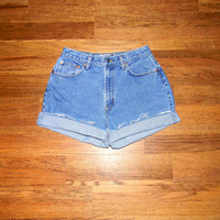 Vintage Denim Cut Offs - 90s Classic LIGHT Stone Washed Jean Shorts - High Waisted Cut Off/Frayed/Rolled up GAP Short Shorts Size 9/10
