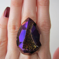 Plum Purple Faceted Titanium Druzy Ring  Agate 