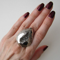 Liquid Silver Faceted Titanium Agate Druzy Ring