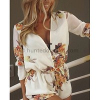 PRE ORDER: Ever After Playsuit - Cream Floral