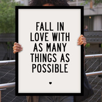 "Inspirational Quote Motivational Art Wall Decor ""Fall In Love..."" Poster Sign Subway Art Typography Print"