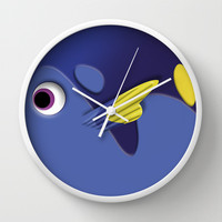Dory the Ornamental Blue Fish Disney Finding nemo Decorative Circle Wall Clock Watch by Three Second