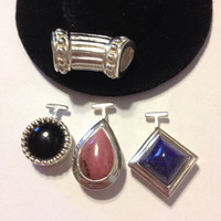Interchangeable Lapis Rhodochrosite Sterling Pendant Enhancer Onyx 925 Silver Set 4 Necklace Blue Pink Black Vintage Geometric Jewelry Gift