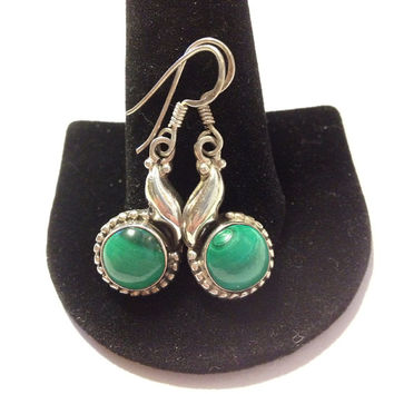 Navajo Malachite Earrings Sterling Silver 925 Green Stones Native American Southwestern Tribal Indian Vintage Jewelry Gift Leaves Leaf