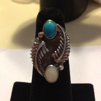 Navajo Turquoise MOP Ring Sarah Chee Sterling Silver Size 5.5 Blue Mother of Pearl 925 Vintage Native American Southwestern Tribal Jewelry