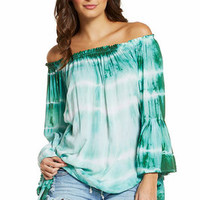 Elan Off the Shoulder Top with Ruffled Sleeves Emerald Ripple Dye One Size