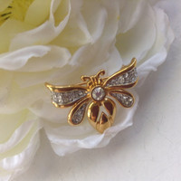 Monet Bumble Bee Rhinestone Pin Brooch New Vintage Sparkly Clear Stones Gold tone Insect Nature Botanical Gardener