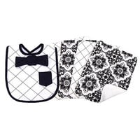 Trend Lab Versailles Black and White Dress Up Bowtie Bib and 4 Pack Burp Cloth Set