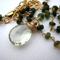 Green Amethyst Green Tourmaline Wire Wrapped by SiennaGraceJewelry